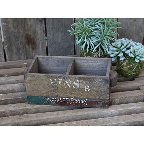 Chic antieke oude Frans. Box houten kist doos met 2 vakken antiek nostalgie plank