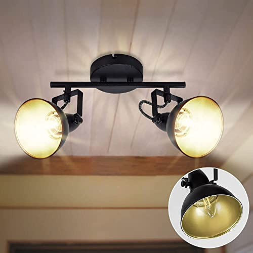 lowest DLLT Industrial Track Light, Ceiling outlet sale Track Lighting Fixture, 2-Light Adjustable popular Wall Spotlight for Kitchen, Bedroom, Dining Room, Office, Closet Room, E12 Base, Black online sale