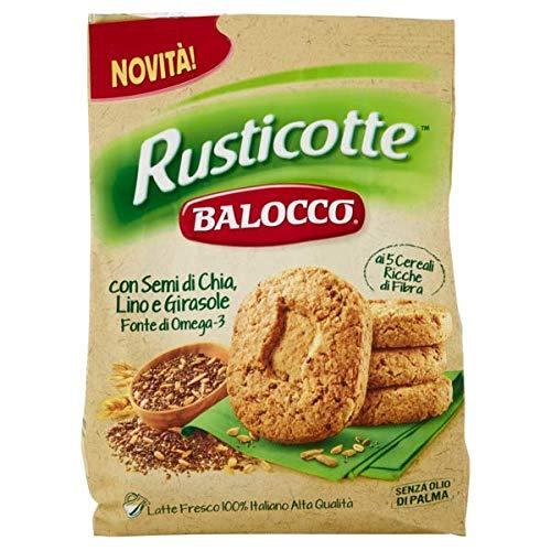 6x Balocco Rusticotte Biscotti Integrali ai 5 cereali Vollkornkekse mit 5 Müsli mit Chiasamen, Leinsamen und Sonnenblumenkernen biscuits cookies 100% Italienische Kekse 700g