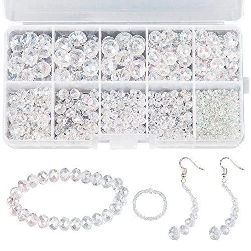 AIEX 900+ stuks 2-10 mm kristallen parelset, ronde glasparels helder spacer kralen verschillende leveringen voor sieraden die ontdekkingen met kunststof opbergdoos (2-10 mm, transparant)