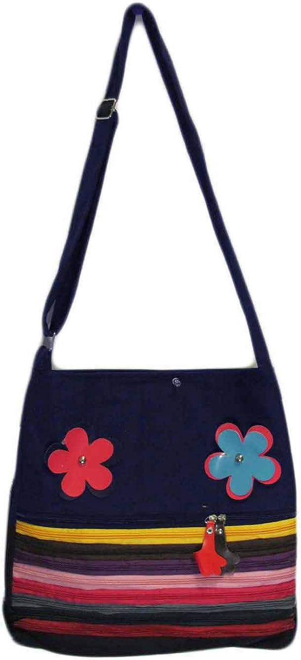 Navy Floral Zipper Tote Shoulder Bag