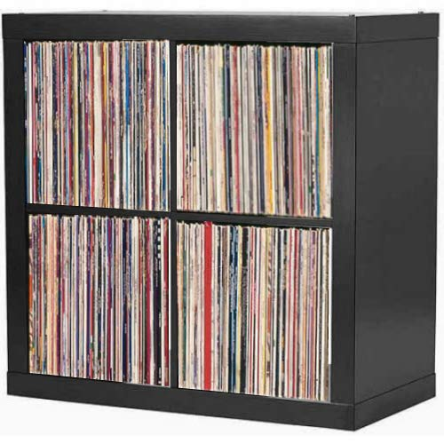 Vinyl Record Storage Shelf | LP Record Album Storage | Vinyl Record Storage Cube, Rack, Cabinet, Bookcase, Organizer for Vintage LP Records | 4 Cube Square Organizer by VRSS (Black)
