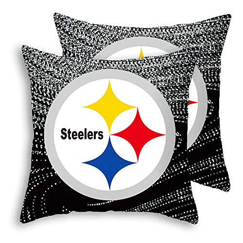 CANDICE Pittsburgh Steelers Throw Pillow Covers Pillow Cases Short Plush Decorative Pillowcase Protecter with Zipper 2 Pcs Without Insert