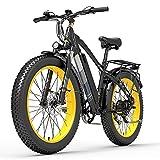 XC4000 1000W 48V Bicicleta eléctrica, Bicicleta de Nieve de 26 Pulgadas Bicicleta de neumático Grueso, Freno de Disco hidráulico Delantero y Trasero (Black Yellow, 15Ah)
