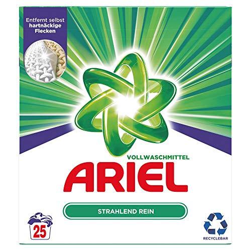 Ariel Waschmittel Pulver, Waschpulver, Vollwaschmittel, Strahlend Rein, 25 Waschladungen (1.625 kg)