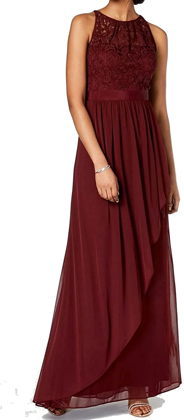 Adrianna Papell Womens Maroon Lace Sleeveless Illusion Neckline Full-Length Layered Formal Dress Size 8