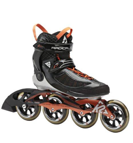 K2 Skates Herren Radical 100 M Inline Skates, Schwarz/Orange/Silber, 44.5 EU