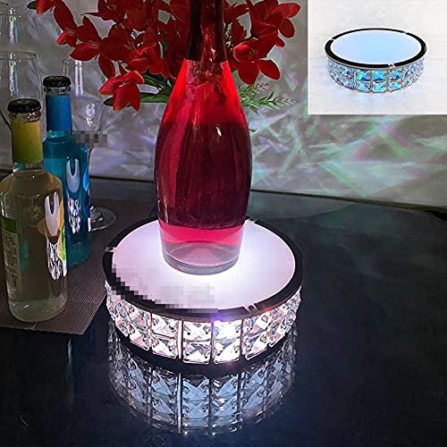 Asiento de Vino Luminoso, botellero Luminoso, Barra de Carga LED, Soporte de Vino de Cristal de Dos Capas Iluminado, para decoración de Fiesta de Bar en casa Ktv