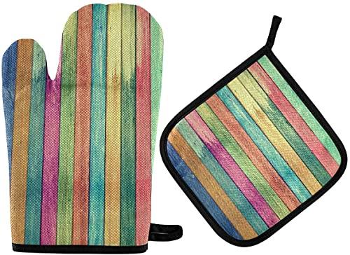 Manoplas y soportes para horno de madera arco iris vintage con aislamiento y encimeras de cocina seguros para cocinar barbacoa hornear parrilla