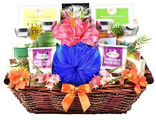 pamper gift baskets Gift Basket Village Just Beachy Spa & Gourmet Gift Basket, A Summer Gift Basket For Women, t, Dark-Chocolate, 1 Count