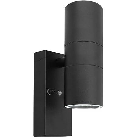 Long Life Lamp Company Black Outdoor Up Down Wall Light Dusk Till Dawn Sensor Stainless Steel IP65 ZLC090B