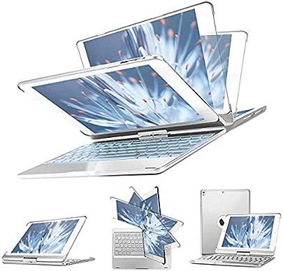 LOMQIT IPad-Tastaturh lle f r 2018 iPad 6 Generation 2017 iPad 5 Generation iPad Pro 9 7 iPad 2 1 360 drehbare Auto Sleep Wake-H lle mit beleuchteter Tastatur Silber Schätzpreis : 68,33 €