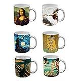 My Custom Style Tazas de cerámica de 320 ml, colección #Arte# Juego de 6