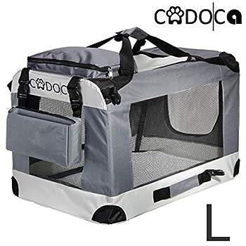 Deuba CADOCA - Cage de Transport pour Animaux domestiques • Gris/Noir • Pliable • Taille L - Sac de Transport Chien Chat Rongeur