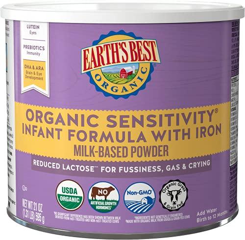 Earth's Best Organic Low Lactose Sensitivity Infant Formula with Iron, Omega-3 DHA & Omega-6 ARA, 21 Ounce