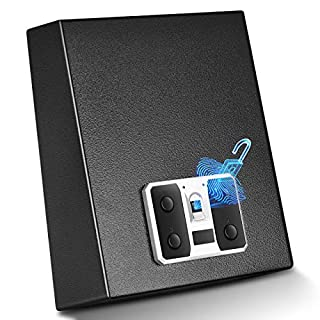 YUEMA Biometric Gun Safe, Quick Access Hand Gun Safes with Fingerprint Scanner, Easy Access Key Lock, Gun Case with Auto-Open Lid and Wall Mount Bracket, Portable Pistol Safe for Home and Car Security (B07D8TC85Q) | Amazon price tracker / tracking, Amazon price history charts, Amazon price watches, Amazon price drop alerts