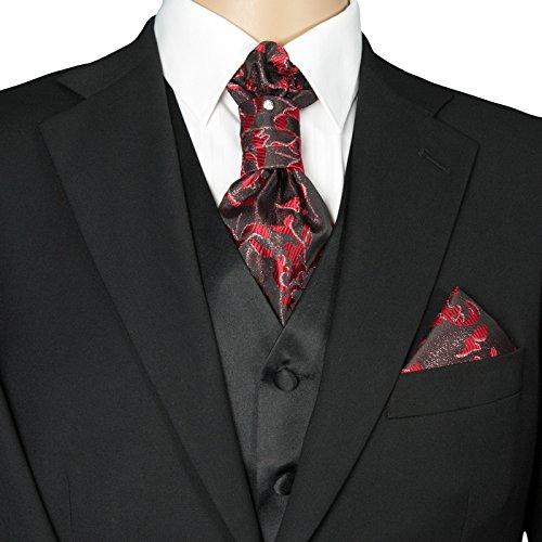 GASSANI 3- SET Plastron | Rote breite Krawatte & Einstecktuch | Binder zum Anzug Verlobung Hochzeit | Hochzeitskrawatte fertig gebunden