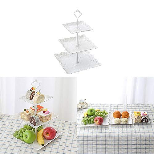 DEBEME - Soporte para Tartas con 3 estantes de plástico para Cupcakes, postres, Platos, para Bodas, Fiestas de té, Vacaciones, cenas, Fiestas de cumpleaños