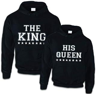 Hoodie Pullover KING QUEEN motivo partner LOOK REGALO ONE LOVE coppiette XS 5xl