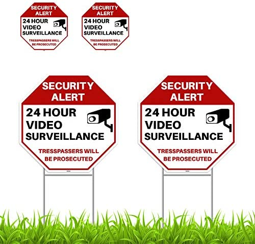 2PC 24 Hour Video Surveillance Sign with Stakes 13 x13 with 2PC Stickers 4 x4 Corrugated Plastic product image