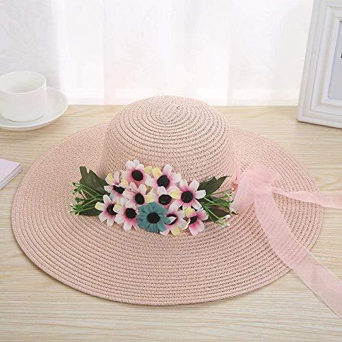 WANGIRL Kreativer Strohhut, Warp Gestrickter Sonnenhut, kleine frische Modehut, Outdoor Sun Hat-Lotus-Wurzel Pink_one Größe LOLDF1