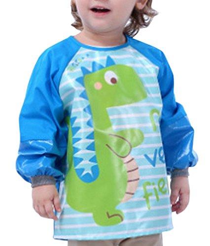 Happy Cherry - Blusón Delantal Babero Impermeable Infantil para pintar de mangas largas para Bebés niños niñas(4-6 años)- XL - Dinosaurio