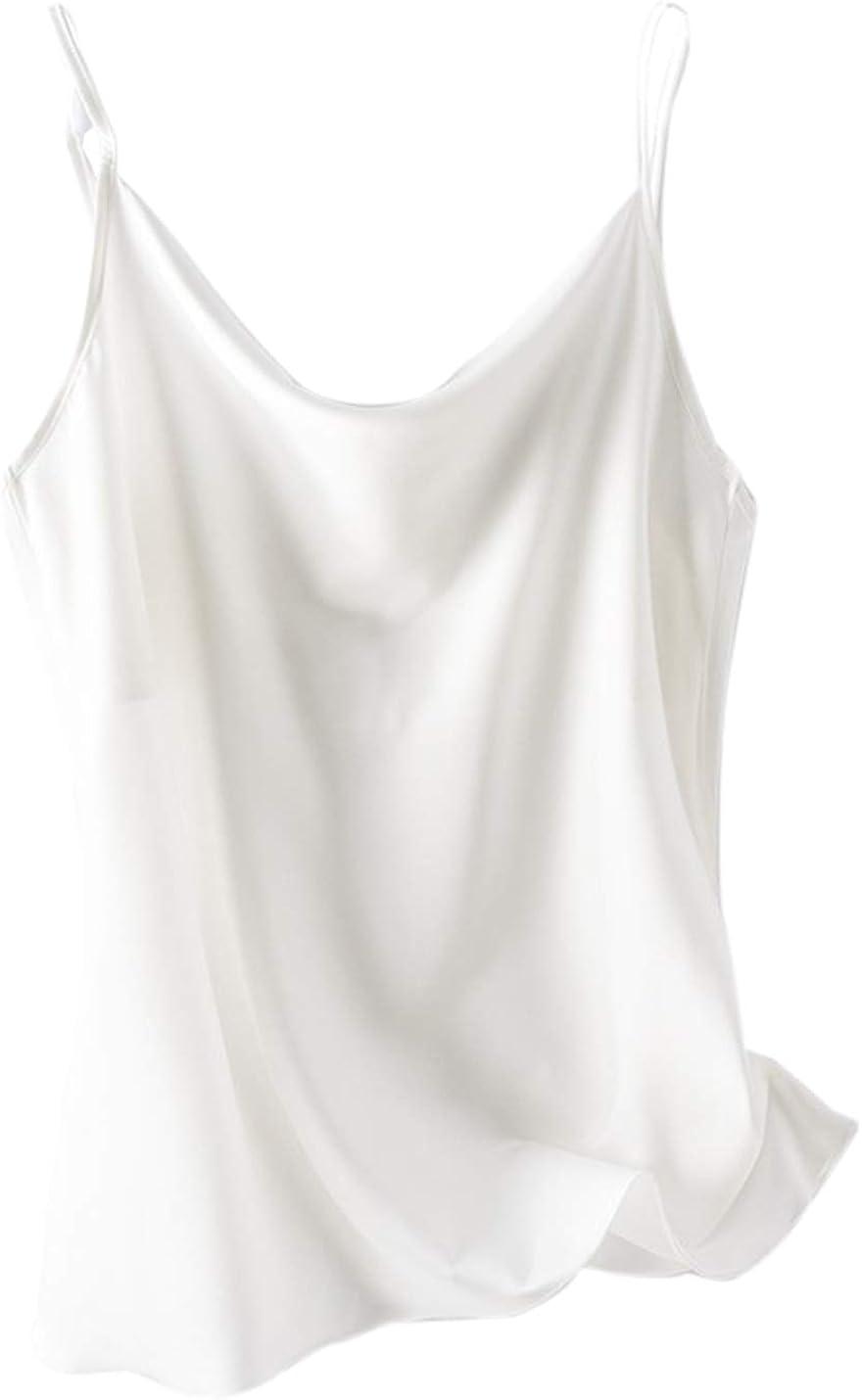 PEHMEA Women's Basic Spaghetti Straps Camisoles V Neck Sleeveless Silk Cami Tank Tops