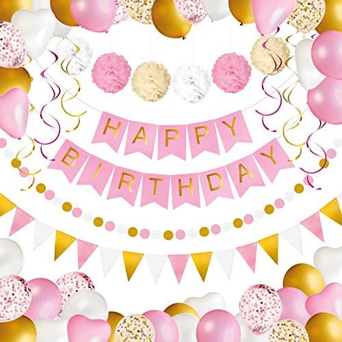 Verjaardag Feest Versiering voor Meisjes en Vrouwen - Happy Birthday Banner, Pompons, Ballonnen, Confetti Ballonnen, Vlaggen, Slinger en Spiralen Decoratie - Party Set - Goud, Wit en Roze - 69 stuks