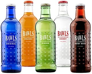 BAWLS Guarana Variety Pack, 5 Flavors (Original, Mandarin Orange, Cherry, Root Beer, Ginger Ale), 10 Oz. Bottles (Pack of 12)