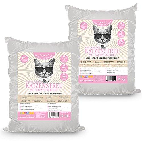 Rinderohr White Katzenstreu mit Babypuderduft 30kg