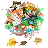 66pcs Ocean Sea Animals Figures Toys Set Assorted Realistic Marine Animal Models Vinyl Plastic Under The Sea Life Creatures Figure Educational Shower Bath Toy for Kids Toddlers