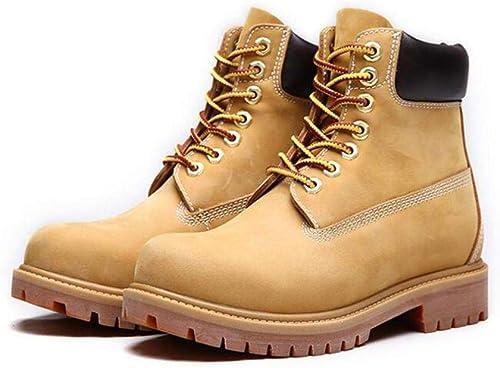 GZ Herren Formelle Schuhe, Frühjahr Herbst Leder Retro Martins Stiefel, Unisex High-Top Größe Werkzeugschuhe Slip-Ons Desert Combat Stiefel