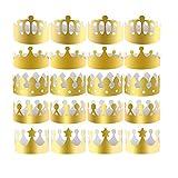 Yongbest Corona de Papel de Fiesta,30 Piezas Coronas de Papel Doradas Corona de Rey Corona de Oro Sombreros para Fiesta de Cumpleaños Foto Props(5 Estilos)