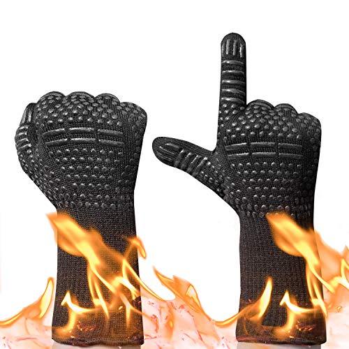Guantes de Horno,Gudior Guantes de Cocina para Barbacoa BBQ Guantes Resistentes al Calor Hasta 500 °C/932 ° F-1 Par