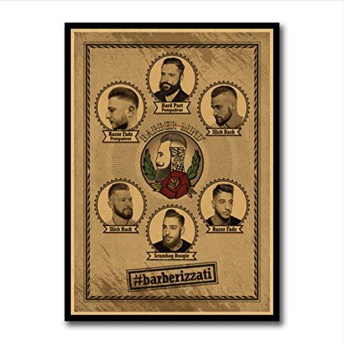 Cczxfcc herenkapsel tattoos vintage patroon poster kraftpapier interieur schilderij restauratie muursticker barber winkel decoratie 42 x 30 cm