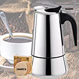 Stovetop Espresso Maker, 9-Cup 16oz/450mL Moka Pot, Italian Coffee Maker with Percolator, Classic Full Bodied Cafe Maker Machine, 430 Stainless Steel