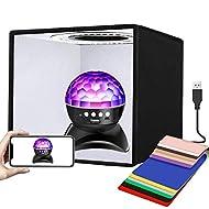 YOTTO Mini Studio Fotografico 25CM Tenda Pieghevole Portatile Fotografia Kit Professionale Light Box Luminosità regolabile 96 luce LED Dimmerabile, 6 Fondali 12 colori