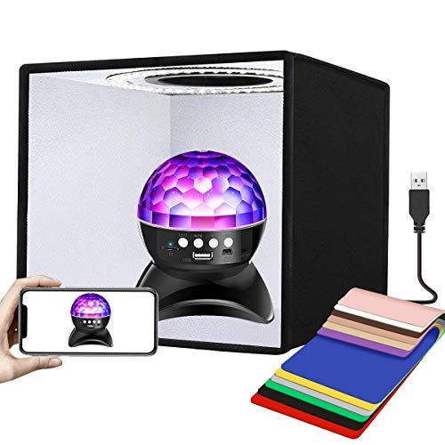 YOTTO 25CM Tragbares Fotostudio Lichtzelt Dimmbare 96 LED Beleuchtung Fotografie Schießzelt Faltbare Fotozelt Fotobox Kit Softbox mit 6 Hintergrund 12...