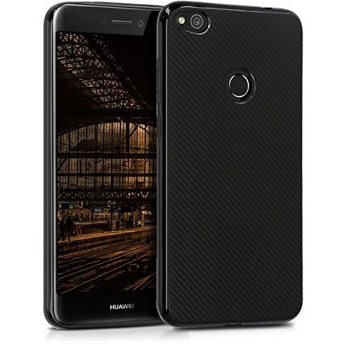 kwmobile Carcasa Compatible con Huawei P8 Lite (2017) - Funda de TPU Carbono en Negro