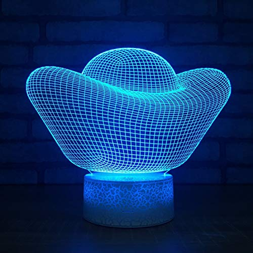 KangYD 3D Night Light Creative Gold Ingot Shape, LED Illusion Lamp, A - Touch Black Base(7 Color), Decor Lamp, Atmosphere Lamp, Colorful Lights, Gift for Child, Warm Lamp