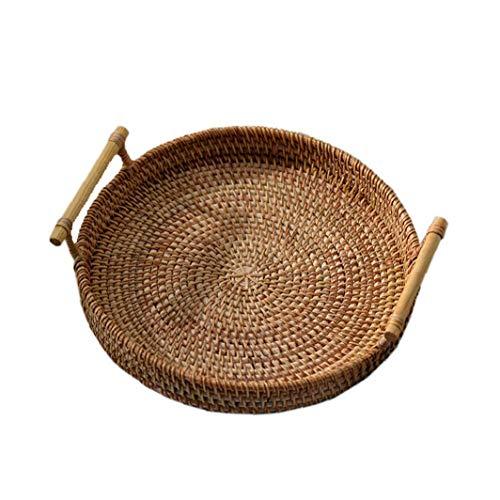 Bandeja de Almacenamiento Redonda de ratán Tejido a Mano la Cesta de Mimbre con asa de Pan de Fruta Comida El Desayuno Display (24x7cm)