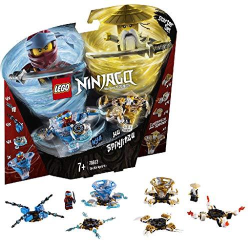 LEGO Ninjago - Spinjitzu Nya & Wu, peonzas azul y dorada de ninjas de juguete (70663) , color/modelo surtido