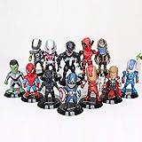 FJKYF Modelo De Anime12Pcs / Set The Avengers Superheroes Capitán América Iron Man Spiderman Thanos Thor Deadpool Hulk PVC Mini Figuras Niños Juguetes 9Cm
