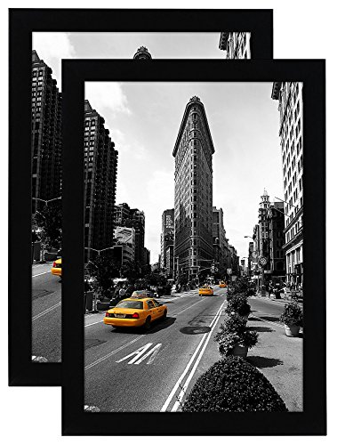 Americanflat 11x17 Picture Frame in Black - Legal Sized Paper Display - Composite Wood with Shatter Resistant Glass - Horizontal and Vertical Formats for Wall - Pack of 2