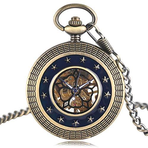 J-Love Relojes mecánicos Movimiento japonés Estilo Estrellas Azul Oscuro Reloj Bolsillo con Cadena Fob Vintage Colgante para Hombres y Mujeres con Bolsa Regalos