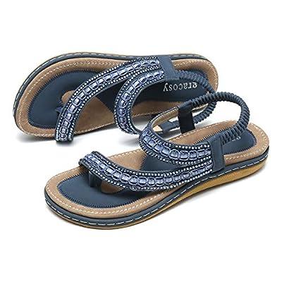 gracosy Summer Flat Sandals for Women, Bohemian Rhinestone Sandals Outdoor Flip Flops Beach Thong Anti-Slip Shoes Dark Blue 8.5 M US