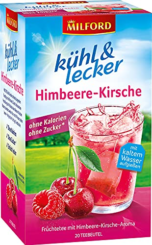 Milford kühl & lecker Himbeere-Kirsche, ohne Kalorien, ohne Zucker, laktosefrei, glutenfrei, vegan, 20 Teebeutel, 50 g