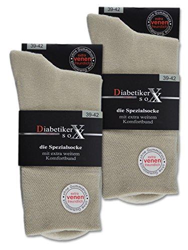 6 Paar Socken mit Komfortbund ohne Gummi & ohne Naht 97% Baumwolle Damen & Herren Diabetiker Socken (Beige 43-46)