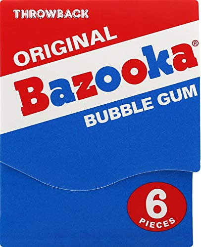 Bazooka Bubble Gum Individually Wrapped Pink Chewing Gum in Original Flavor - 225 Count Bulk Bubble Gum Tub - Fun Old Fashioned Candy for Kids
