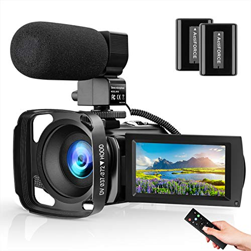 Video Camera Camcorder with Microphone FHD 1080P 30FPS 24MP Vlogging Cameras for YouTube 16X Digital Zoom Webcam Recorder with Remote Control, Lens Hood, 3.0 Inch 270° Rotation Screen